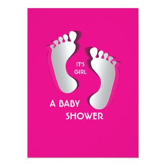 6.5x8.75 Pink Baby Girl Footprints Baby Shower Card