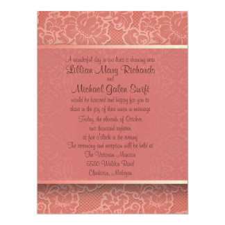 "6.5x8.75""  Pink Floral Flower Wedding Invitation 6.5"" X 8.75"" Invitation Card"