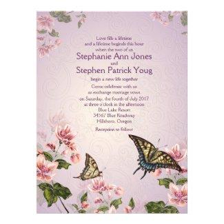 "6.5x8.75"" Pink Floral Flowers Wedding Invitation"