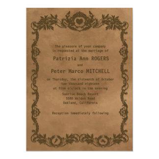"6.5x8.75"" Retro Grunge Floral Wedding Invitation 6.5"" X 8.75"" Invitation Card"