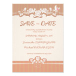 "6.5x8.75"" Roses Floral Stripe Wedding Save The Dat 6.5"" X 8.75"" Invitation Card"