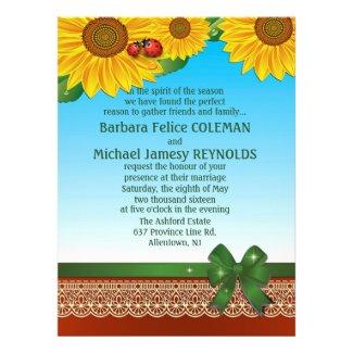 "6.5x8.75"" Spring Summer LadyBugs Sunflowres Custom Invites"
