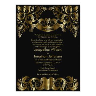 """6.5x8.75"""" Vintage Damask Floral Golden  Invitation 6.5"""" X 8.75"""" Invitation Card"""