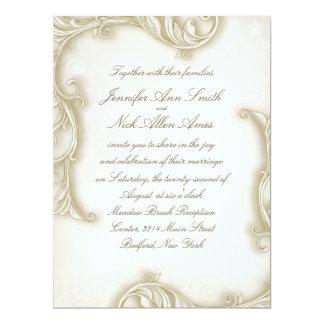 "6.5x8.75"" Vintage Floral Damask Plain Wedding 6.5x8.75 Paper Invitation Card"
