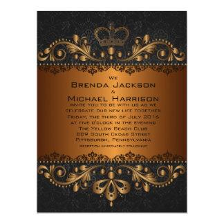 "6.5x8.75"" Vintage Golden Damask Wedding Invitation 6.5"" X 8.75"" Invitation Card"