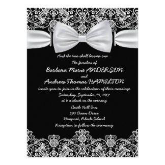 6.5x8.75 Vintage Lace Bow Wedding Invitation