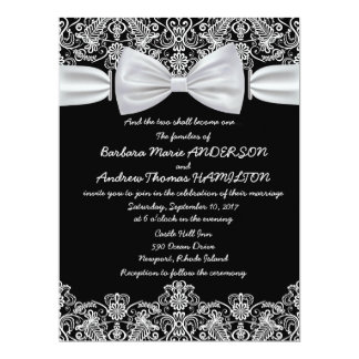 6.5x8.75 Vintage Lace Bow Wedding Invitation