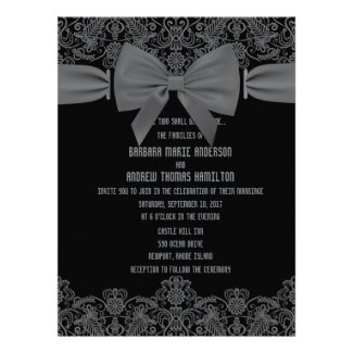 6.5x8.75 Vintage Lace Dark Bow Wedding Invitation