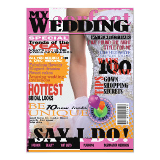 6.5x8.75 Wedding Magazine Cover Page Bridal Shower Announcements