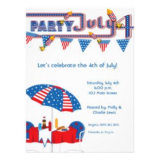 6.5x8.75'July 4th BBQ Party Invitation Announcemen