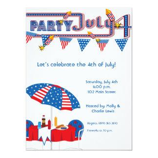 """6.5x8.75'July 4th BBQ Party Invitation Announcemen 6.5"""" X 8.75"""" Invitation Card"""