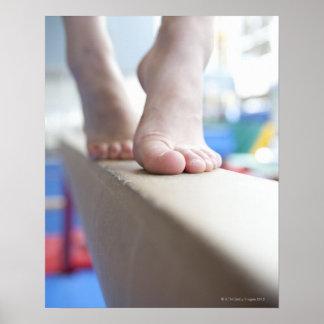6-7 year old girl slowly walks across balance poster