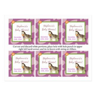 6 animales de la púrpura de Jacana de las etiqueta Tarjetas Postales
