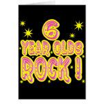¡6 años de la roca! Tarjeta de felicitación (rosad