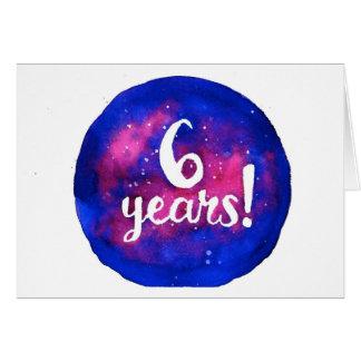 6 años tarjeta de cumpleaños/del aniversario de la