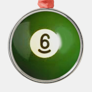 """""""6 ball"""" pool ball design gifts and products metal ornament"""