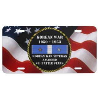 6 BATTLE STARS KOREAN WAR VETERAN LICENSE PLATE