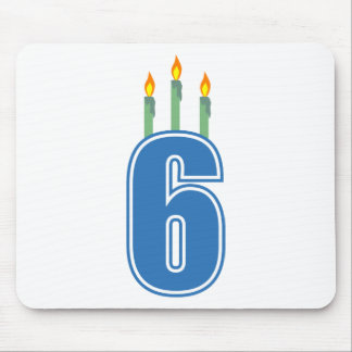 6 Birthday Candles (Blue / Green) Mouse Pad