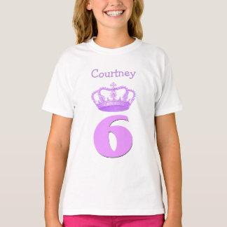 6 Birthday Girl Crown and Number Custom Name V05 T-Shirt