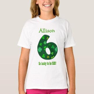 6 Birthday Girl Shamrock Number Custom Name V08 T-Shirt