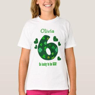 6 Birthday Girl Shamrock Number Custom Name V18 T-Shirt