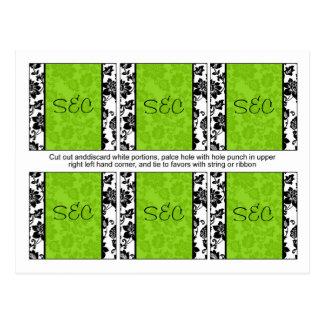 6 Black/Lime Green Floral Damask Favor Tags Postcard