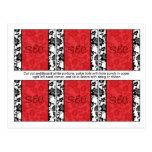 6 Black/Red Floral Damask Wedding Favor Tags Post Cards