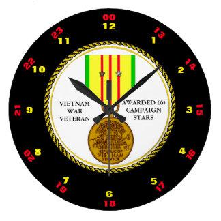 6 CAMPAIGN STARS VIETNAM WAR VETERAN LARGE CLOCK
