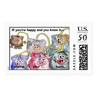 6 Cartoon Pigs Custom Postage Stamps