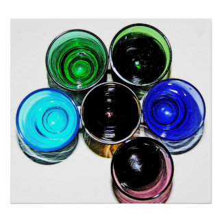 6 Coloured Cocktail Shot Glasses -Style 10 Poster