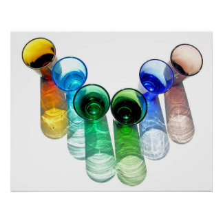 6 Coloured Cocktail Shot Glasses -Style 12 Poster