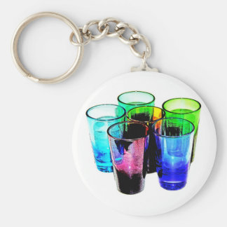 6 Coloured Cocktail Shot Glasses -Style 14 Keychain