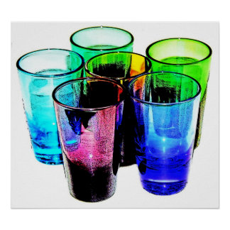 6 Coloured Cocktail Shot Glasses -Style 14 Poster
