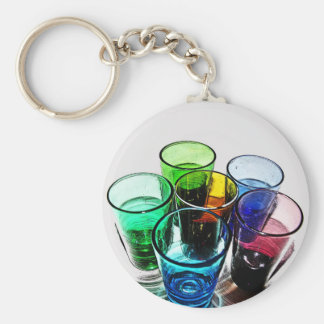 6 Coloured Cocktail Shot Glasses -Style 16 Key Chains