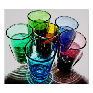 6 Coloured Cocktail Shot Glasses -Style 16 Poster