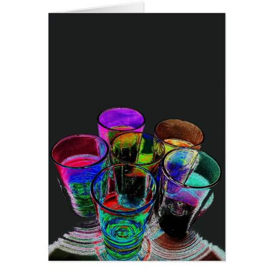 6 Coloured Cocktail Shot Glasses -Style 17 Card