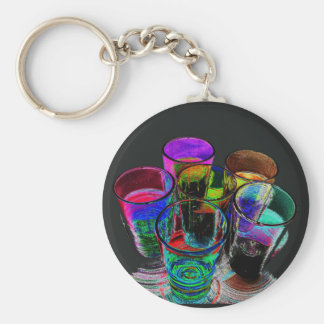 6 Coloured Cocktail Shot Glasses -Style 17 Keychains