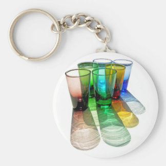 6 Coloured Cocktail Shot Glasses -Style 18 Key Chains