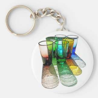 6 Coloured Cocktail Shot Glasses -Style 7 Key Chain
