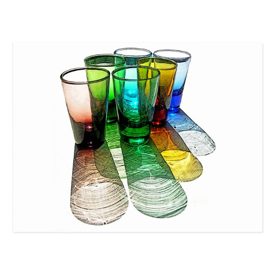 6 Coloured Cocktail Shot Glasses -Style 7 Postcard