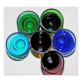 6 Coloured Cocktail Shot Glasses -Style 8 Poster