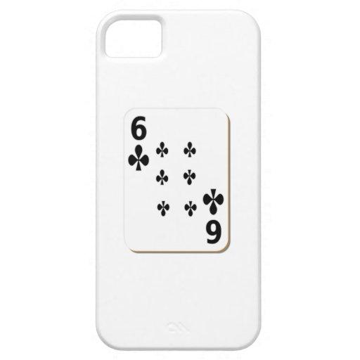 6 del naipe de los clubs iPhone 5 carcasa
