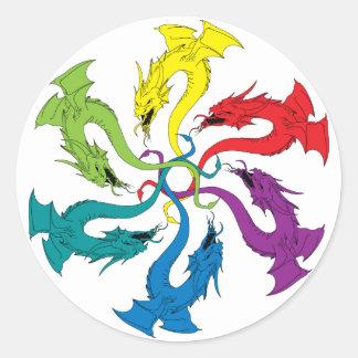 6 Dragons Classic Round Sticker