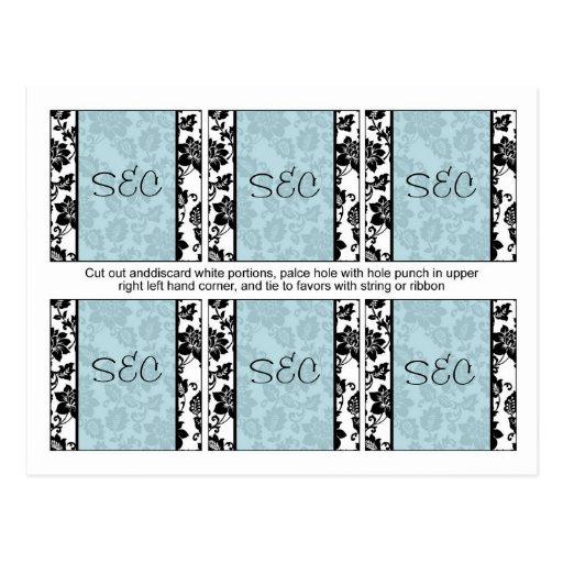 6 el favor floral negro/azul del boda del damasco  postales