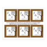 6 etiquetas del favor del boda del árbol de la caí postales
