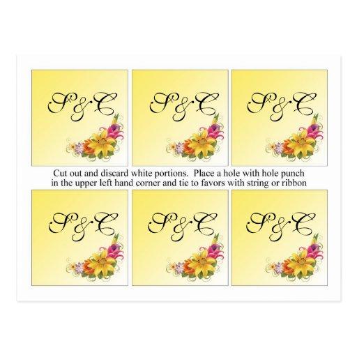 6 etiquetas del favor del boda del ramo de la flor postales