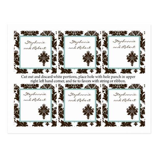 6 etiquetas del favor que casan el cordón del dama tarjeta postal