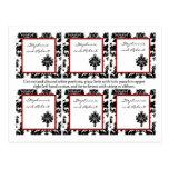 6 etiquetas del favor que casan el cordón rojo neg postales