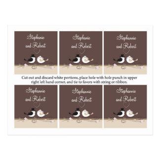6 etiquetas del favor que casan pares del amor del postal