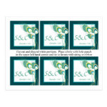 6 etiquetas modernas del favor del boda del pavo r tarjeta postal